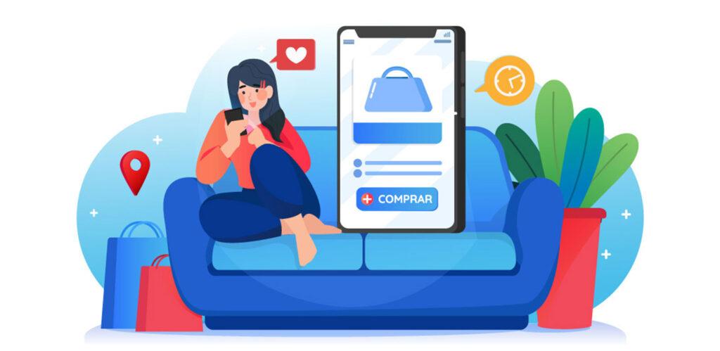 mujer realizando compra en su celular