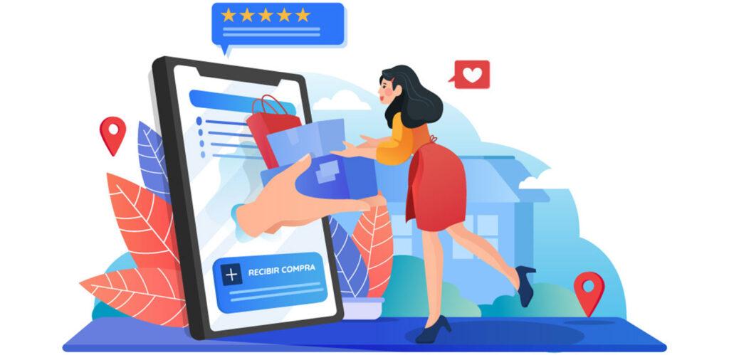 mujer recibiendo sus compras online